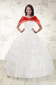 White Ball Gown Formal Quinceanera Dress With Sequins And Ruffles