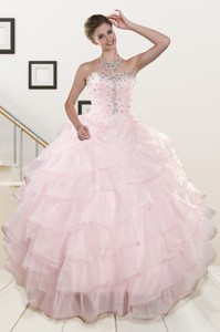 Cute Baby Pink Quinceanera Dress With Beading And Ruffles
