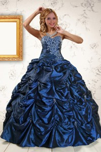 Exclusive Appliques Navy Blue Quinceanera Dress With Pick Ups