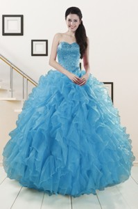 Hot Sell Beaded Quinceanera Dress Ruffled In Blue