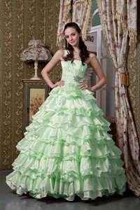 Apple Green One Shoulder Floor-length Elastic Woven Satin Beading Ruffled Layers Quinceanea D