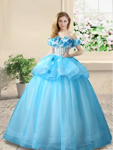 Luxurious Applique and Beaded Baby Blue Prom Gown with Off the Shoulder