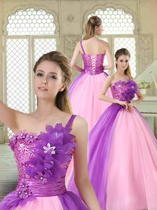 Elegant Hand Made Flowers Sweetheart Quinceanera Dress In Multi Color