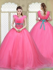 Fashionable Brush Train Quinceanera Dress In Hot Pink