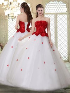 Popular A Line Strapless Quinceanera Dress With Ruffles