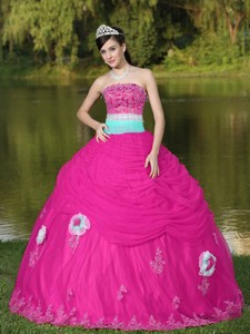 Tulle Strapless Hot Pink Quinceanera Dress For Girl With Flower Beaded Decorate