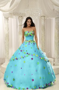 Baby Blue Ball Gown Quninceaera Gown For Custom Made Appliques Decorate Bodice