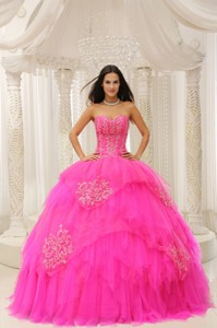 Custom Made Hot Pink Sweetheart Embroidery For Quinceanera Wear In