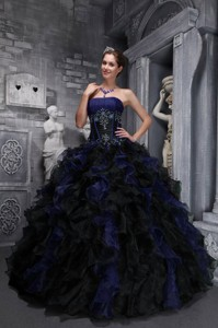 23ea1e9bd8bb Exclusive Strapless Taffeta and Organza Appliques and Ruffles Multi-color Quinceanera  Dress
