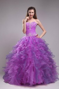 Purple Ball Gown Sweetheart Floor-length Orangza Appliques Quinceanera Dress