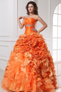 Sweetheart Beading And Rolling Flowers Orange Quinceanera Dress