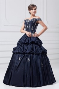 Off The Shoulder Taffeta Navy Blue Quinceanera Dress with Appliques