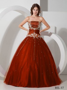 Ball Gown Strapless Floor-length Taffeta and Tulle Appliques and Beading Quinceanera Dress