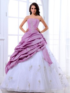 Lavender And White Quinceanera Dress Appliques And Pick-ups With Floor-length