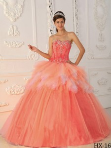 Watermelon Princess Sweetheart Floor-length Satin And Tulle Beading Quinceanera Dress
