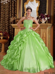 Yellow Green Ball Gown Sweetheart Floor-length Taffeta Emboridery and Beading Quinceanera Dress