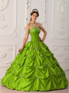 Olive Green Ball Gown Strapless Floor-length Taffeta Appliques and Beading Quinceanera Dress