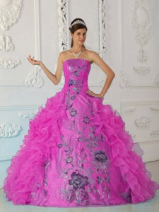 Exquisite Ball Gown Strapless Floor-length Embroidery Hot Pink Quinceanera Dress