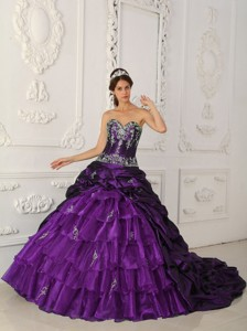 Purple Ball Gown Sweetheart Chapel Train Taffeta and Organza Appliques Quinceanera Dress