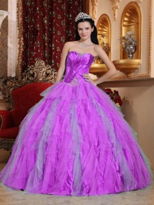 Fuchsia Ball Gown Sweetheart Floor-length Tulle Beading Quinceanera Dress