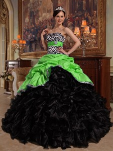 Green and Black Ball Gown Sweetheart Floor-length Pick-ups Taffeta and Organza Quinceanera Dress