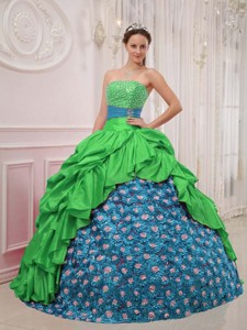 Green and Blue Ball Gown Strapless Floor-length Beading Quinceanera Dress