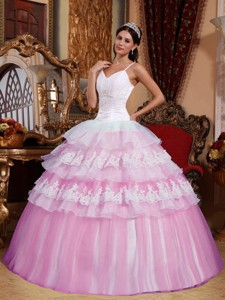 Pink Ball Gown Spaghetti Straps Floor-length Organza Lace Appliques Quinceanera Dress