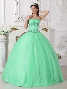 Apple Green Ball Gown Sweetheart Floor-length Tulle and Taffeta Beading Quinceanera Dress