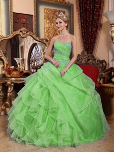 Spring Green Ball Gown Sweetheart Organza Appliques and Ruched Quinceanera Dress