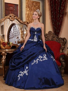 Blue Ball Gown Sweetheart Floor-length Taffeta Appliques and Pick-ups Quinceanera Dress