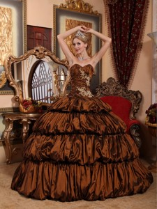 Brown Ball Gown Sweetheart Chapel Train Taffeta Appliques and Pick-ups Quinceanera Dress