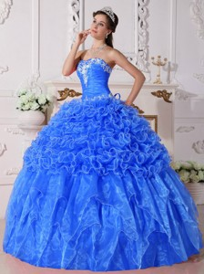 Baby Blue Ball Gown Strapless Floor-length Organza Embroidery with Beading Quinceanera Dress