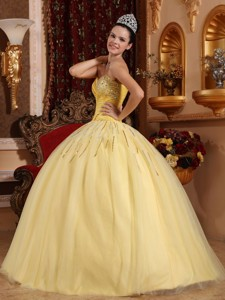 Light Yellow Ball Gown Sweetheart Floor-length Tulle Beading Quinceanera Dress