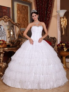 White Ball Gown Strapless Floor-length Taffeta and Tulle Beading Quinceanera Dress