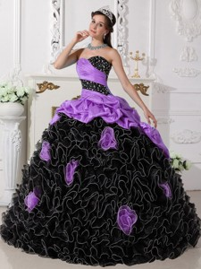 Purple and Black Sweetheart Floor-length Beading and Rolling Flowers Quinceanera Dress