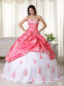 Watermelon And White Ball Gown Sweetheart Floor-length Taffeta Appliques Quinceanera Dress