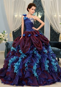 Multi-color Ruffles One Shoulder Ball Gown With And Made Flowers Gorgeous Quinceanera Dress
