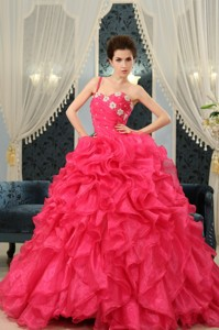 One Shoulder Coral Red Appliques And Ruffles Wedding Dress Custom Made