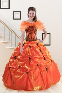 Exclusive Appliques Quinceanera Dress In Orange Red And Black