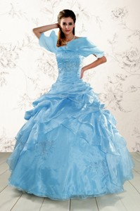 Brand New Aqua Blue Quinceanera Dress With Appliques