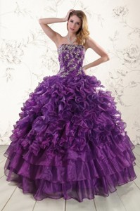 Purple Strapless Quinceanera Dress With Appliques