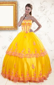 Exquisite Strapless Gold Quinceanera Dress With Appliques