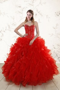 Most Popular Red Quinceanera Dress With Beading And Ruffles