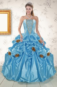 New Style Aqua Blue Quinceanera Dress With Beading And Flowers