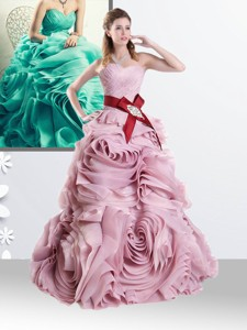 Princess Baby Pink Quinceanera Dress with Rolling Flowers