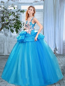 Pretty Applique and Handcrafted Flowers Blue Prom Gown with Scoop