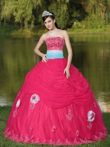 Tulle Strapless Coral Red Quinceanera Dress For Girl With Flower Beaded Decorate