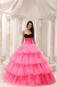 Watermelon Sweetheart Beaded and Layers Ball Gown Quinceanera Dress Taffeta and Organza
