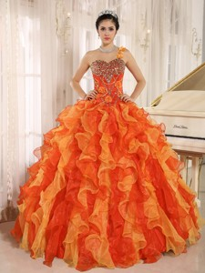 Custom Made Orange One Shoulder Beaded Decorate Ruffles Quinceanera Dress In Spring