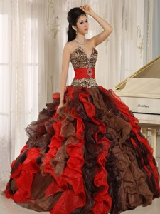Wholesale Multi-color Quinceanera Dress V-neck Ruffles With Leopard And Beading